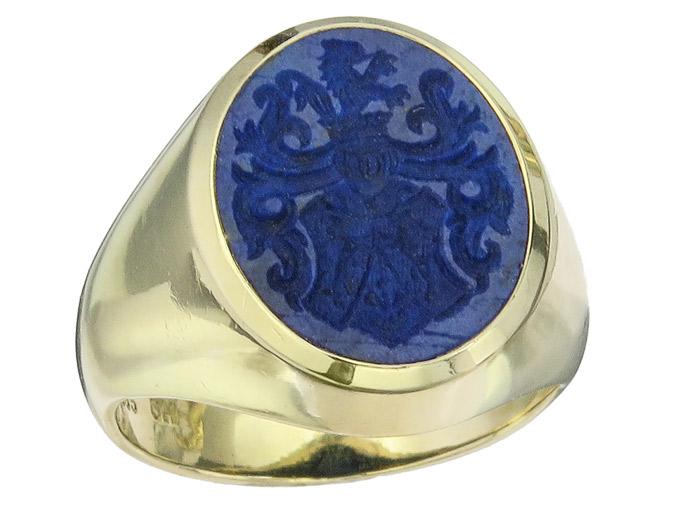 Ring Siegelring Lapislazuli 585er Gelbgold