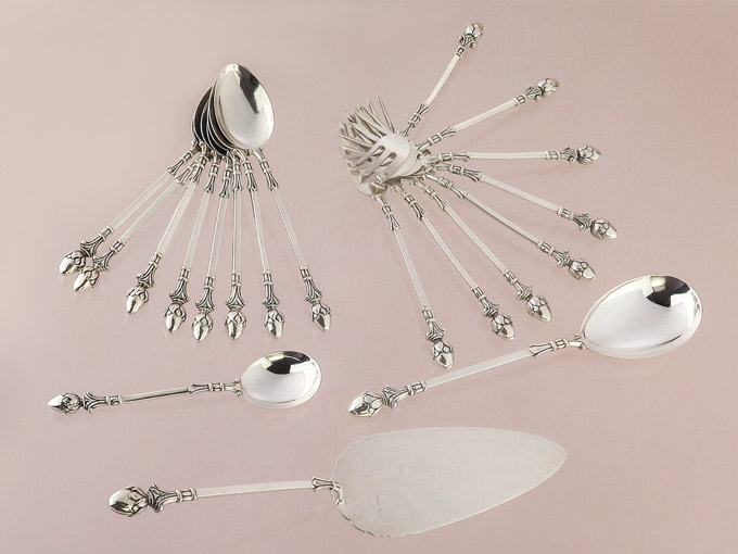 Cake Forks Coffee Spoons Cake Servers Cream Spoons Silver-Plated Pforzheim