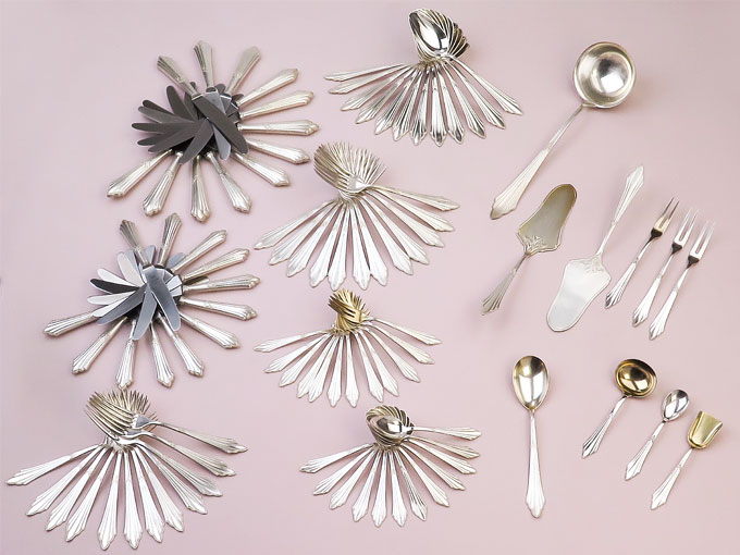 Cutlery WMF Fan Pattern around 1920 Silver-Plated