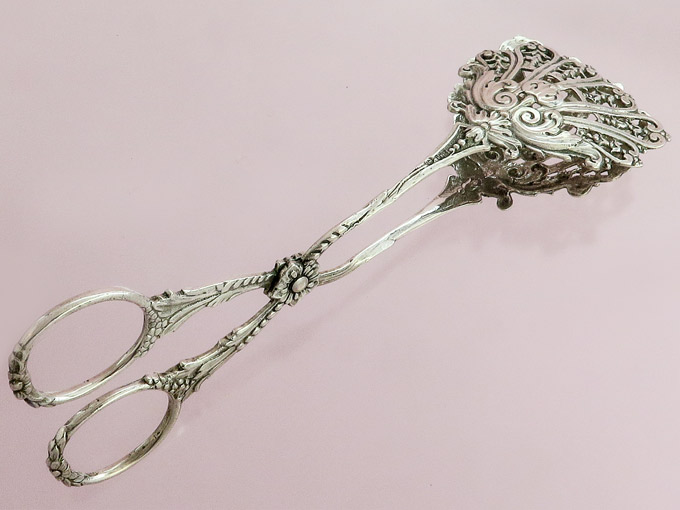 Pastry Tongs loral Ornamentation 800 Silver probably Hanau around 1900