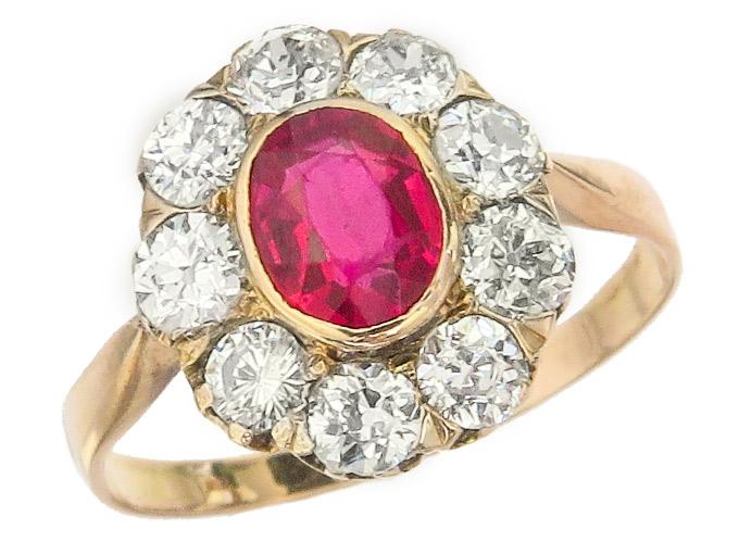 Ring Antik Rubin Altschliff Diamanten 585er Rosegold ca. 1910-20