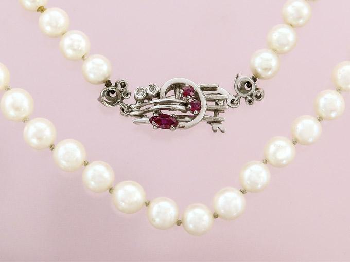 Perlenkette Einreihig Rubine 750er Weißgold