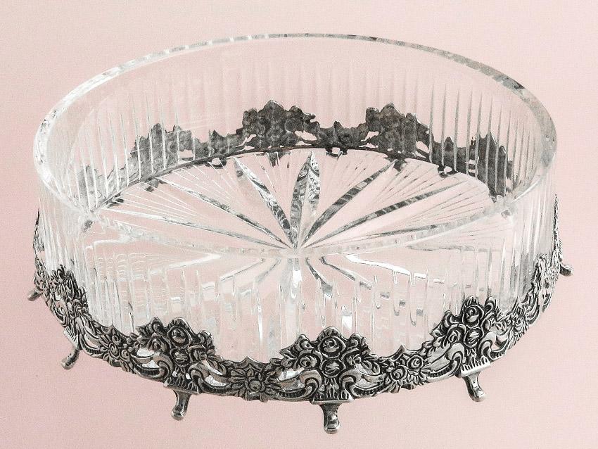 Schale Silberkranz Kristallglas