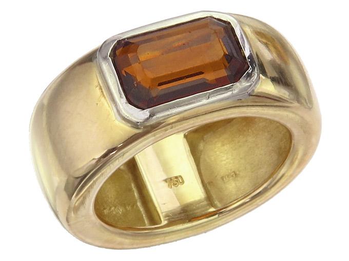 Ring Citrin 750er Gelbgold und Weißgold