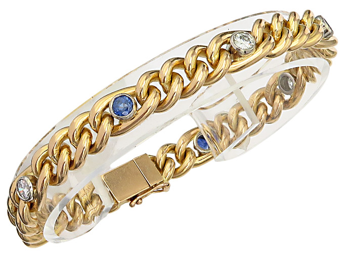 Bracelet 18 Carat Yellow Gold Diamonds Sapphires Antique