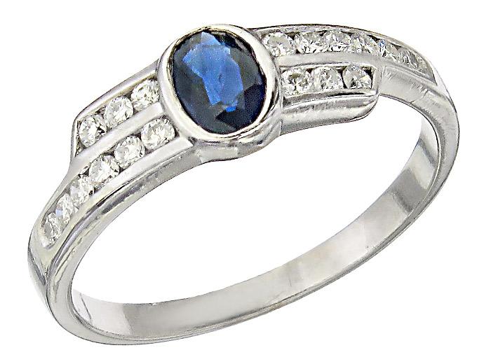 Ring Saphir Brillanten 585er Weissgold