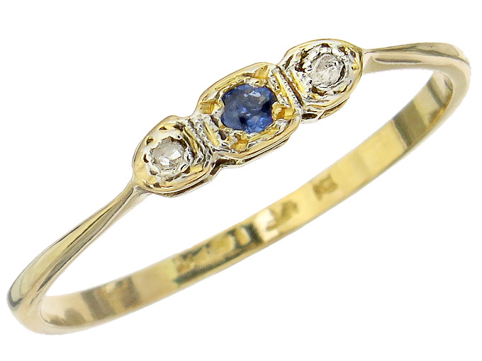 Ring Saphir Diamanten 750er Gelbgold Antik um 1900