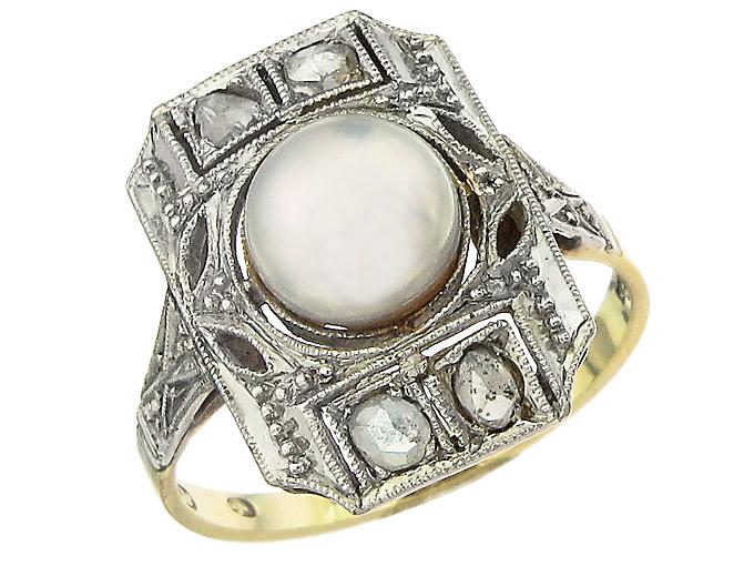Ring Perle Rosen Diamanten 585er Gelbgold Art Deco