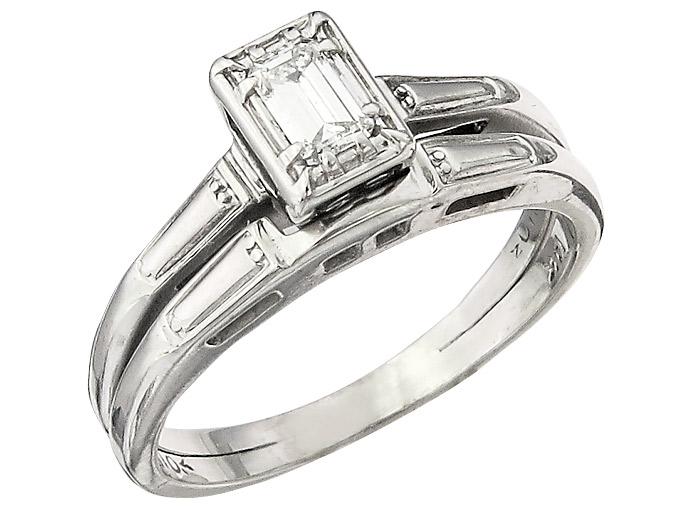 Ring Diamant Emerald Schliff 585er Weissgold
