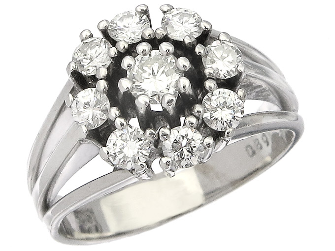 Ring Diamonds 14 Karat White Gold