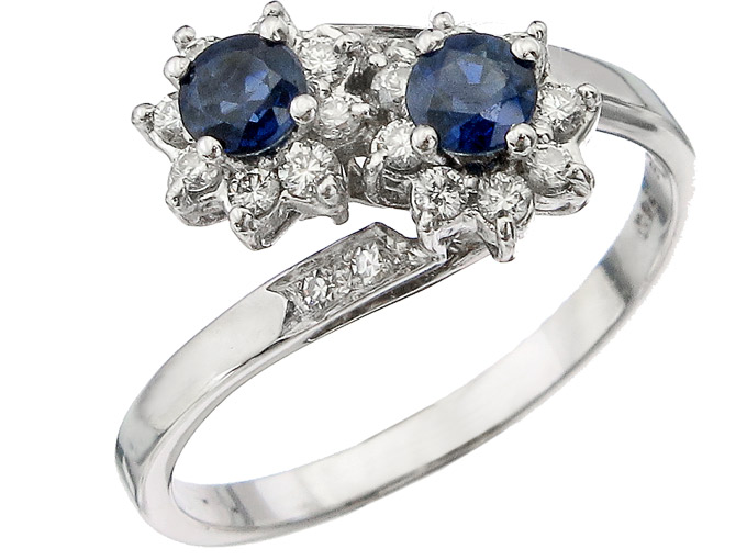 Ring Sapphires Diamonds 18 Karat White Gold
