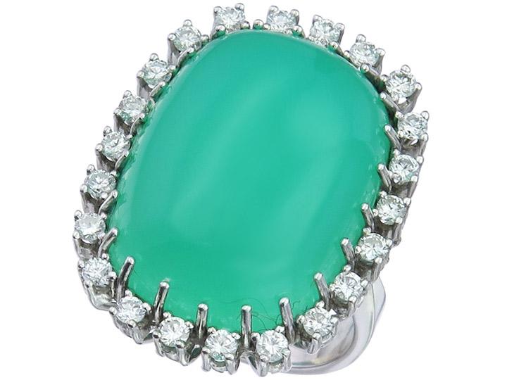 Ring Chrysopras Diamonds 14 Karat White Gold