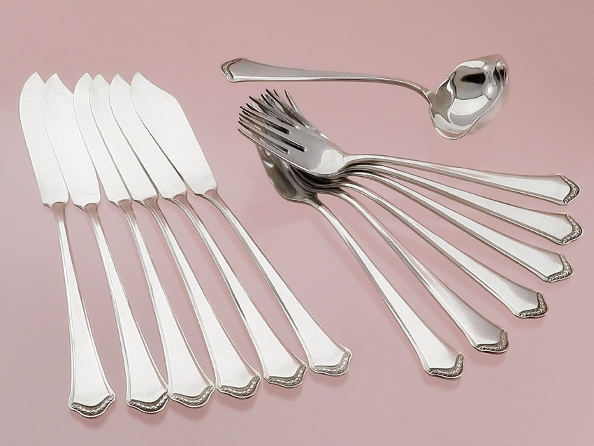 Fish cutlery with sauce ladle Bruckmann silver plated
