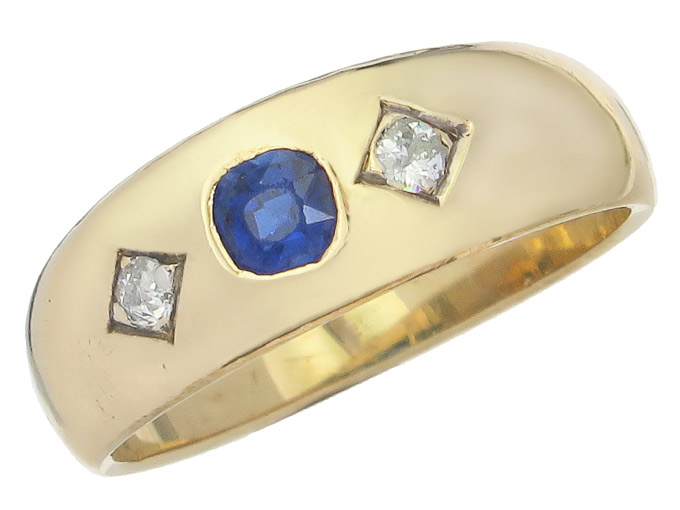 Gypsy Ring Sapphire Old Cut Diamond 14 Karat Yellow Gold