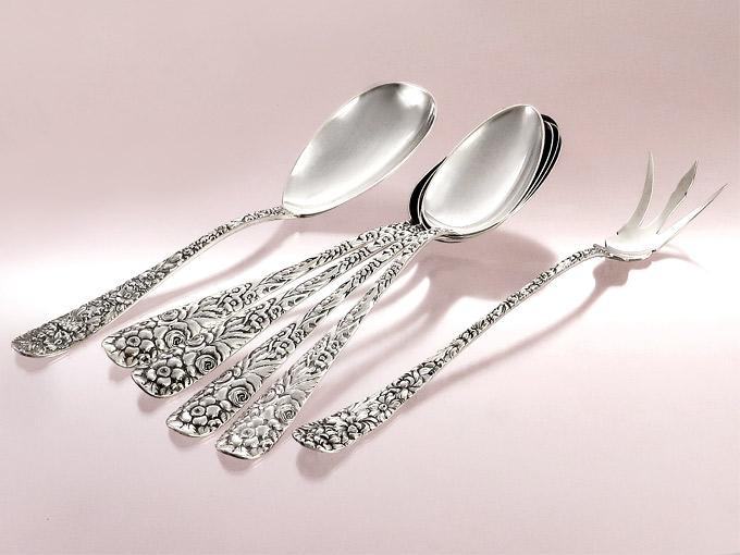 Soup Spoons Salad Servers Rose Dekor Stieff Amerika