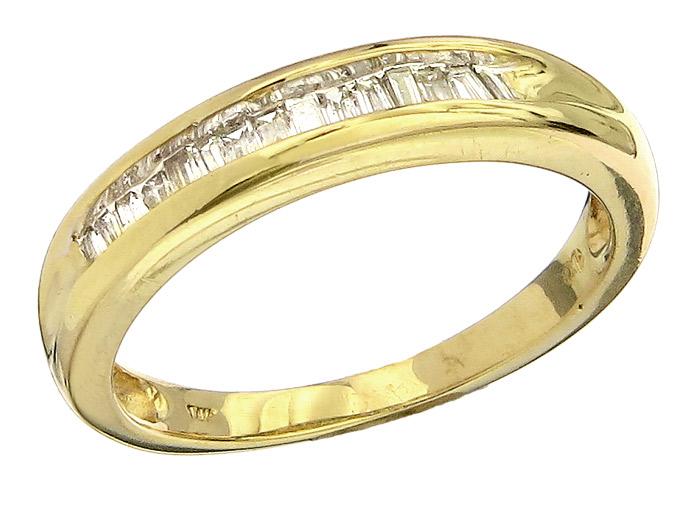 Ring Baguette Diamonds 14 Karat Yellow Gold