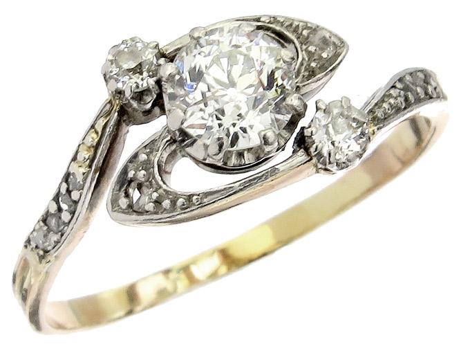 Ring Diamanten 750er Roségold Jugendstil um 1900