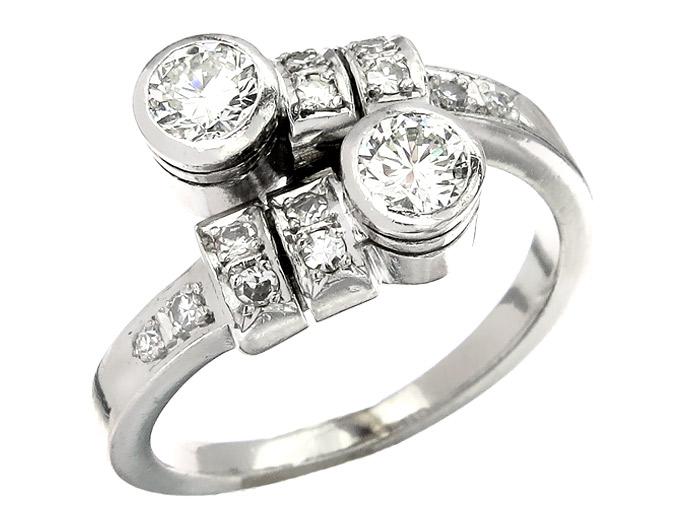 Ring Brillanten und Diamanten 585er Weißgold