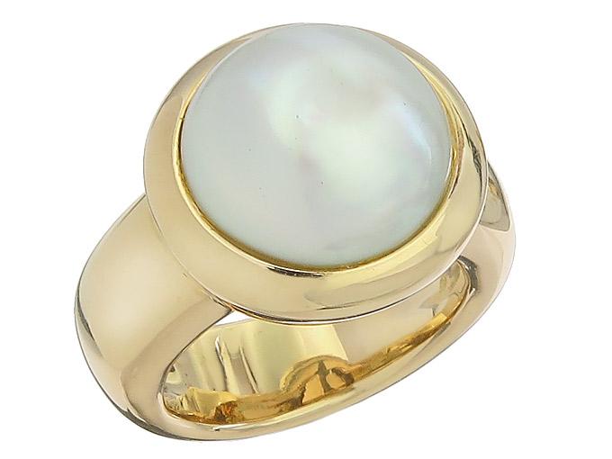 Ring Mabé Perle 750er Gelbgold