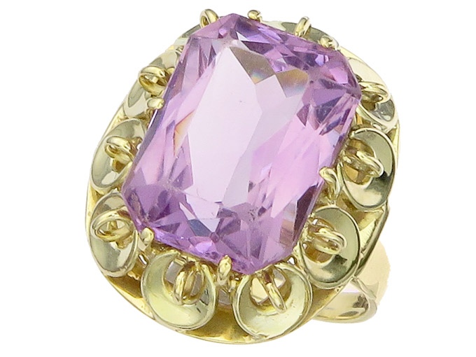 Ring Amethyst 14 Karat Yellow Gold approx. 1955-60