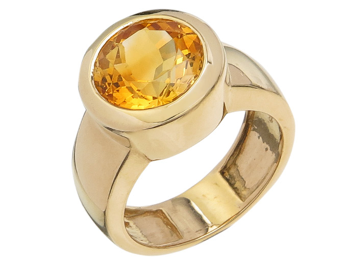 Ring Citrine 14 Karat Yellow Gold