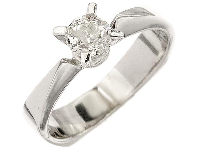 Solitaire Ring Old Cut Diamonds 14 Karat White Gold