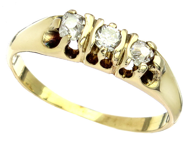 Ring Brillant Diamant 585er Gelbgold Antik