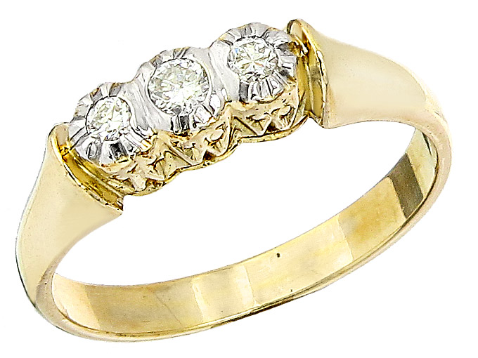 Ring Old Cut Diamonds 14 Karat Yellow Gold Antique