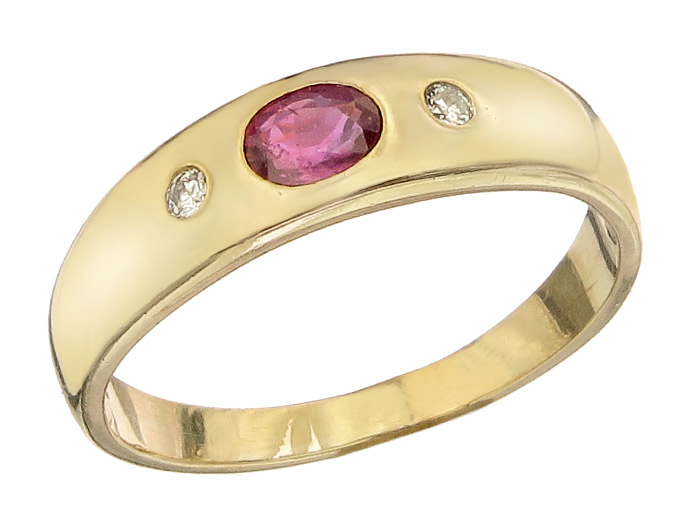 Gypsy Ring Rubin Diamonds 14 Karat Yellow Gold