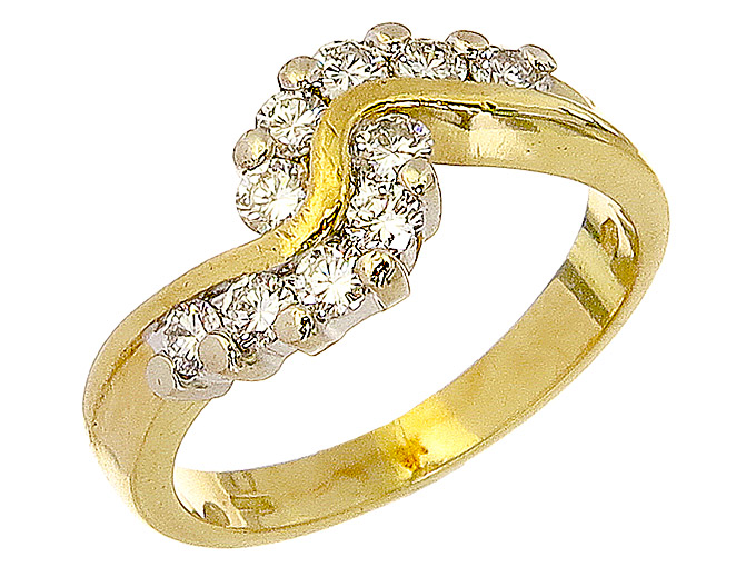 Ring Diamonds 18 Karat Yellow and White Gold