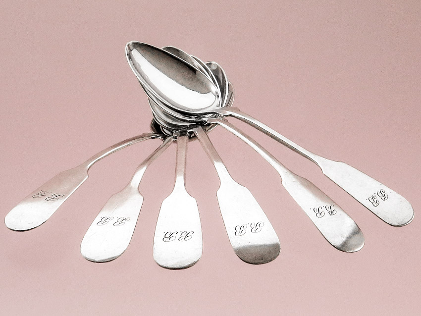 Coffee Spoons Spade Pattern around 1900 Silver