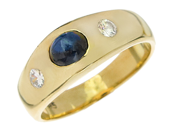 Gypsy Ring Sapphire Diamonds 14 Karat Yellow Gold