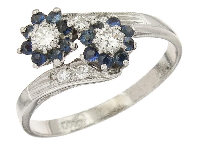 Ring Sapphire Daimonds 18 Karat White Gold