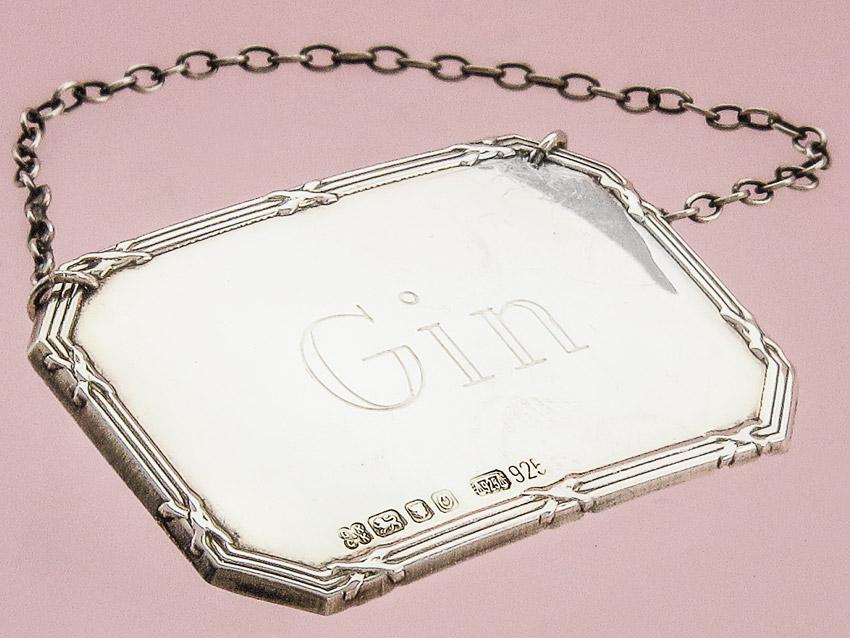 GIN Flaschenanhänger London 1988 Silber