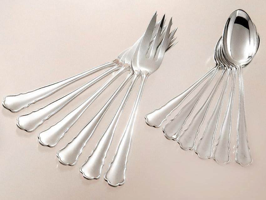Kaffeelöffel und Kuchengabeln Wilkens Chippendale Dekor 800er Silber