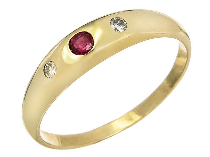 Band Ring Rubin Brillanten 333er Gelbgold