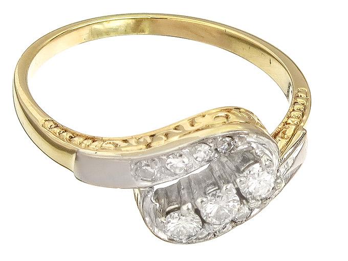Ring Diamonds 14 Karat Yellow Gold approx. 1930-40