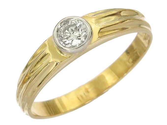 Solitaire Ring Diamonds 14 Karat Yellow and white Gold