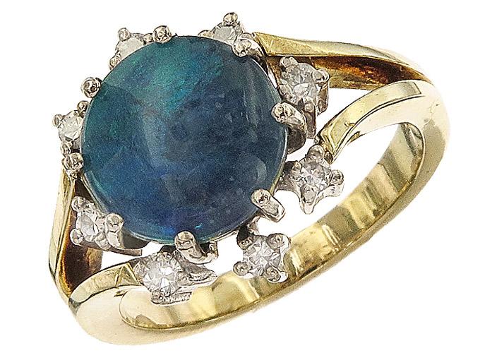 Ring Opal Diamonds 14 Karat Yellow and White Gold