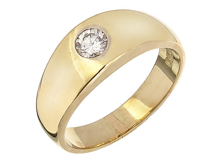 Gypsy Ring Diamond 14 Karat Yellow Gold