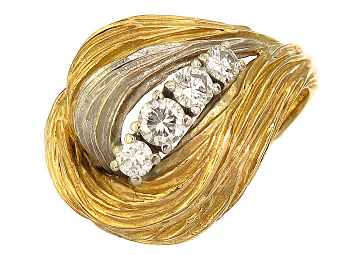 Ring Diamonds 18 Karat Yellow and White Gold approx. 1965