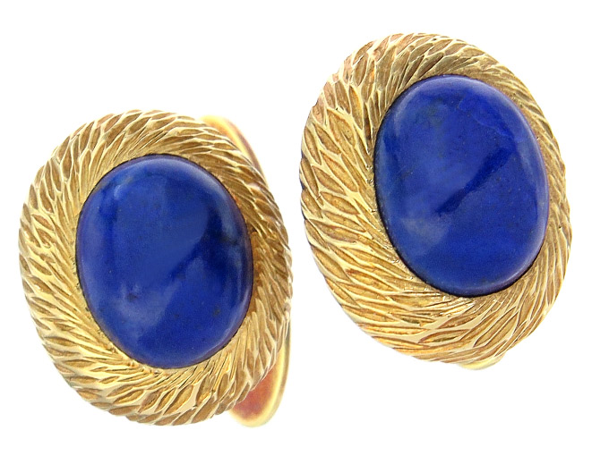 Cufflinks Lapis Lazuli 14 Karat Yellow Gold