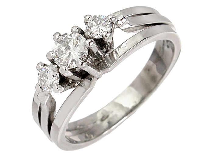 Ring Diamonds 14 Karat White Gold