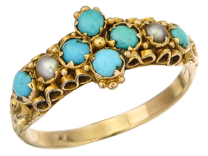 Ring Turquoise Pearls 9 Karat Yellow Gold Antik England approx. 1890