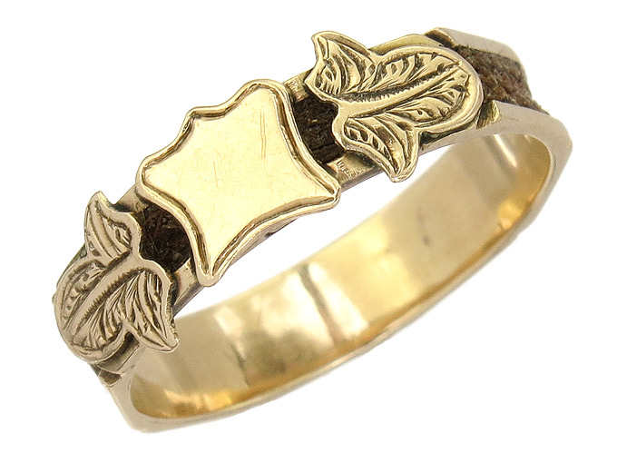 Ring Haarkunst 375er Gelbgold Antik England ca. 1860-80