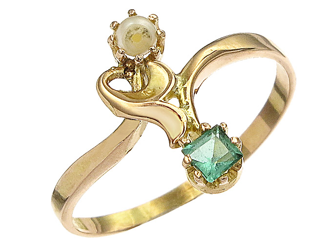 Ring Pearl Colored Stone 14 Karat Rosé Gold Art Nouveau