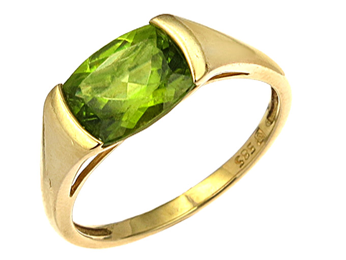 Ring Peridot 14 Karat Yellow Gold
