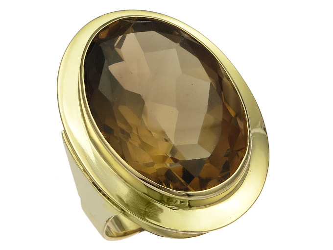 Ring Smoky Quartz 14 Karat Yellow Gold aprox. 1960