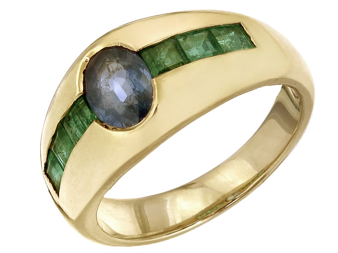 Ring Sapphire Emeralds 18 Karat Yellow Gold