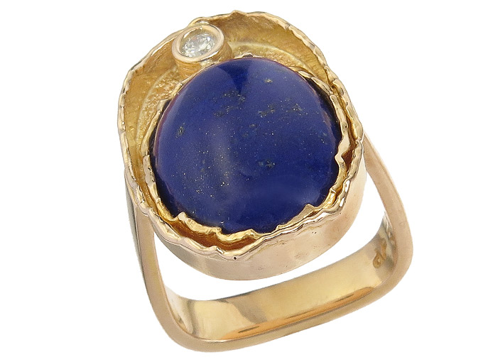 Ring Lapis Lazuli Diamond 14 Karat Yellow Gold